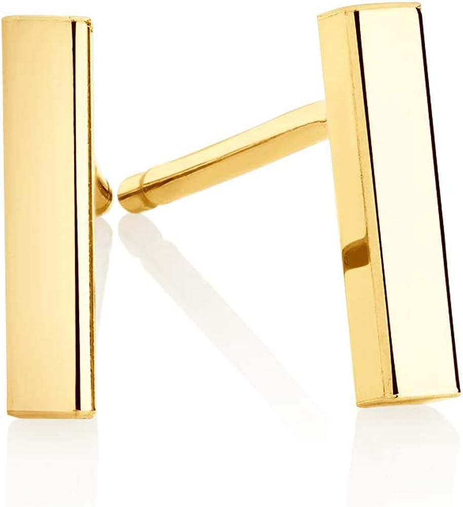 14k Gold Bar Earrings Polished Stud 12mm Line Stick Minimalist Earrings