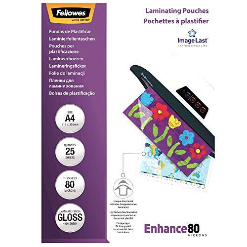 Fellowes Pouches Lucide Enhance80, 80 mic, 25 Pezzi, A4