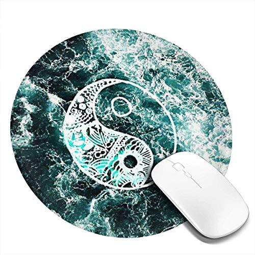 Mouse Pad, Round Mouse Mat, non-slip Rubber Base Desktop Mousepad with Stitched Edge, Small Size 7.87 X 7.87 X 0.12 inch (Yin Yang)