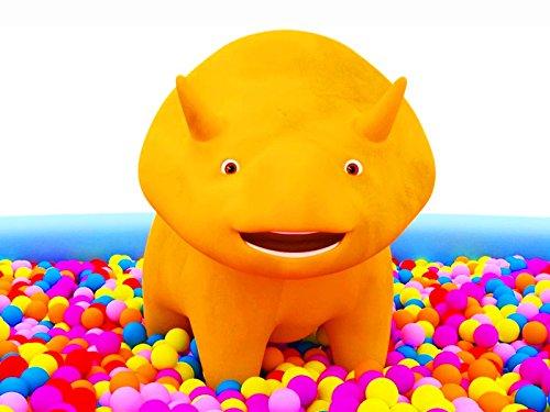 Bällen, luftballons und Dino / Autos und Dino dem Dinosaurier / Lastwagen und Dino / Müllauto und Dino