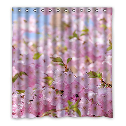 Once Young–Peach Blossom Wasserdicht Polyester Duschvorhang Nature Serie mit Lebhafte Farbe, hohe Qualität Stoff Duschvorhang Größe: 167,6x 182,9cm (167cm x 183cm), Polyester, J, 168 x 183 cm