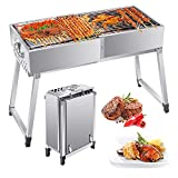 TTLIFE BBQ Grill, Portable Stainless Steel Foldable <span class='highlight'>Charcoal</span> Barbecue Grill Suitcase Type Barbecue Grill Adjustable Height With Clips Brushes And Seasoning Bottles, For Camping Garden Outdoor