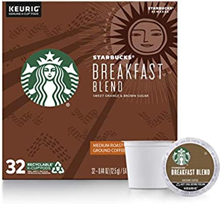 Starbucks - Cápsulas de café K-Cup de tostado mediano - Mezcla de desayuno para cafeteras Keurig - 1 caja (32 cápsulas)