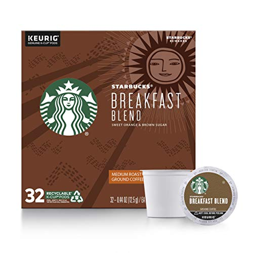 Starbucks Medium Roast KCup Coffee Pods — Breakfast Blend for Keurig Brewers — 1 Box 32 Pods