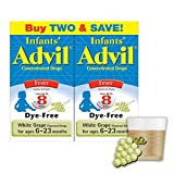 Infants Advil Concentrated Drops (.5 fl. oz., White Grape) 50mg Ibuprofen Fever Reducer/Pain Reliever, Dye-Free, Alcohol-Free, Liquid Pain Medicine, Ages 6  23 Months