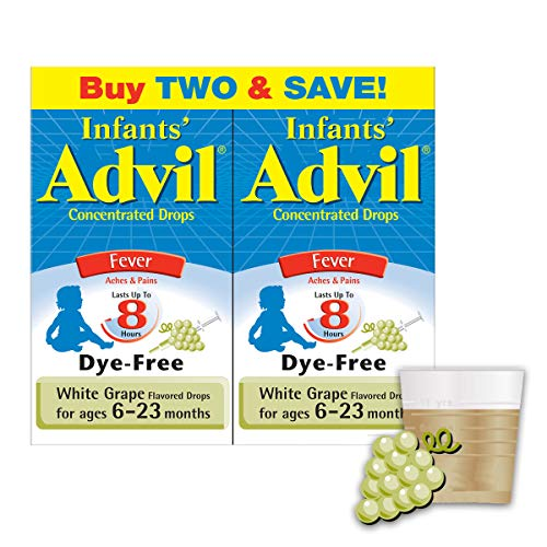 Infants' Advil Concentrated Drops (.5 fl. oz., White Grape) 50mg Ibuprofen Fever Reducer/Pain Reliever, Dye-Free, Alcohol-Free, Liquid Pain Medicine, Ages 6 – 23 Months