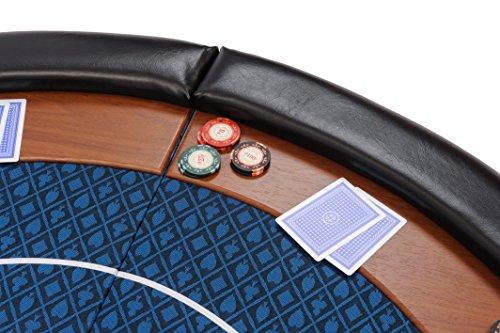 Riverboat Gaming Kompakte Faltbare Pokerauflage mit wasserabweidenden Stoff und Tasche – Blau Pokertisch 120cm - 4