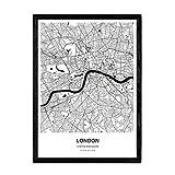 Nacnic Poster con Mapa de London - Reino Unido. Láminas de Ciudades de Reino Unido con Mares y ríos en Color Negro. Tamaño A3 con Marco