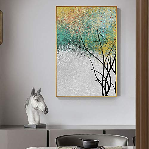 yaoxingfu Nessuna Cornice Nordic Green Forest Canvas di Golden Tree Posters n Prints Unique Wall Art Picture for Living Room Bedroom Abstract Decor 40x60cm