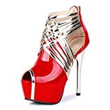 OCHENTA Zapatillas de Moda Atractiva Sandalias Cabeza de Pescado Mujer PU Rojo Asiático 42 - EU 41