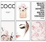 artpin - Juego de 6 pósteres para salón – imágenes decorativas para dormitorio – elegantes cuadros de pared – A4 sin marco – Diseño Coco Rosa W2
