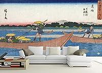 写真の壁紙日本の浮世絵文字海釣り船漁師日本の壁画の背景壁リビングルームの壁の芸術の壁の装飾の家の装飾のための大きな壁壁画シリーズの壁紙-118.2x82.7inch/300cmx210cm