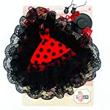 Folk Artesanía Vestido Cola andaluza Flamenca, Pendientes, castañuelas, peinetas, Percha y Sombrero para Barbie. Fabricado en España (Rojo Lunar Negro)
