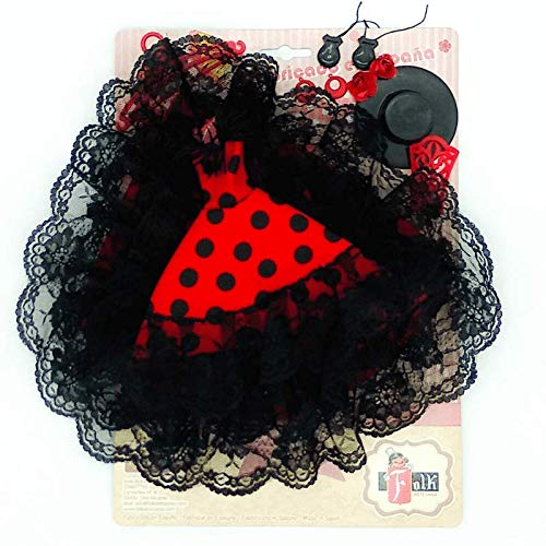 Folk Artesanía Vestido Cola andaluza Flamenca, Pendientes, castañuelas, peinetas, Percha y Sombrero para Barbie. Fabricado en España (Rojo Lunar Blanco)