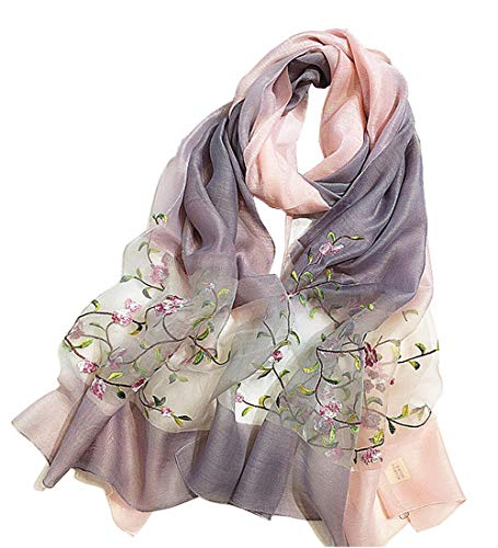 Alysee Women Soft Warm Silk&Wool Mixed Gradient Embroidered Scarf Headwrap Shawl Pink