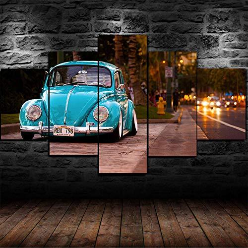 WUZHIXIN 5 Pezzi Quadri Parete Arte Immagini Moderni Pittura Sfondo Quadro Grafica Decorazione Stampa Tela per Camera Letto Cucina Salotto Muro Poster Maggiolino con Sedile Ribassato 150 * 80Cm