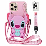 Maoerdo Case Compatible with iPhone 11 Pro Max Cute 3D Cartoon Purse Wallet with Lanyard Wrist Strap Silicone Cover Camera Lens Screen Protector for iPhone 11 Pro Max 6.5-inch 2019 Alien Dog Pink