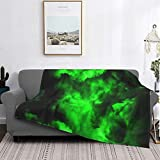Throw Blanket Envy Abstract in Black and Neon Green Flannel Blanket Flannel Throw Soft Bed Blanket Lightweight Microfiber 50 x 60 Inches