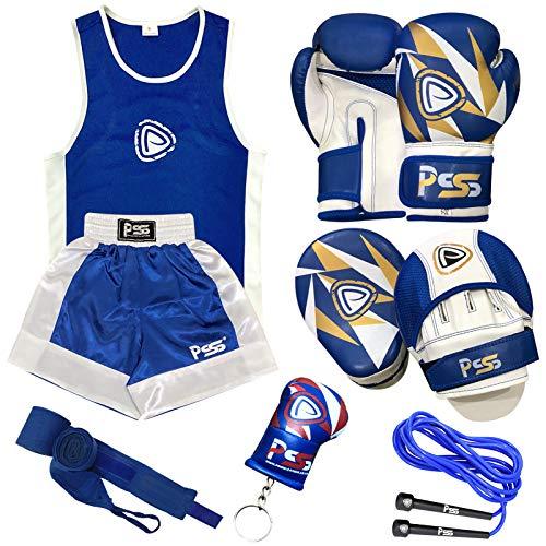 Prime Leather PSS Ultimate - Juego de 4 piezas de boxeo para niños, uniforme, gimnasio, ejercicio, parte superior corta de 3 a 14 años + almohadilla de enfoque 1103, guantes de boxeo para niños, talla 1007, 4 onzas + muñequera disponible color: azul, 1103 Blue, 9-10 años
