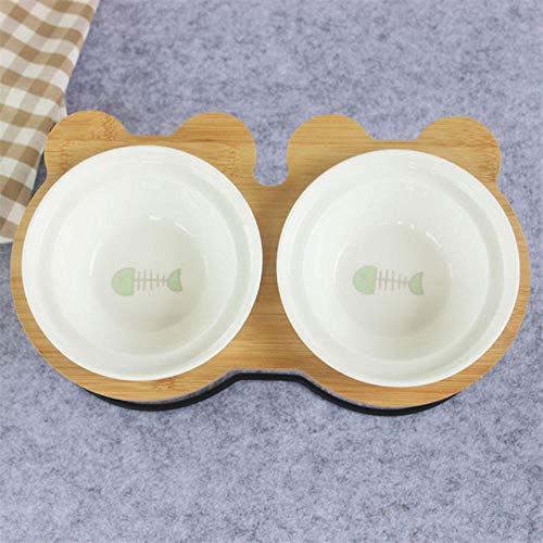 GVRPV Cuenco para Mascotas Estante de bambú Cuencos de cerámica para Comer y Beber para Perros y Gatos Cuenco para Perros Lindo Accesorios para alimentador de Mascotas
