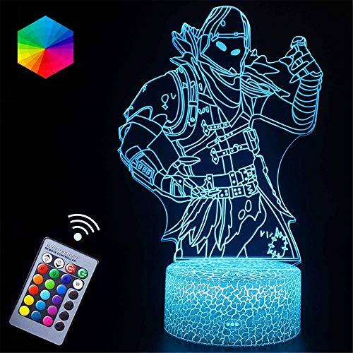 Lámpara 3D de ilusión 3D Raven 16 colores regulables con toque inteligente remoto, regalos de Navidad y cumpleaños para niños y niños