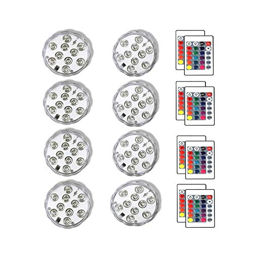 STRQUA Submersible Led Lights with Remote, 16 Colors Waterproof Pool Lights, Submersible Lights Battery Operated, Aquarium Fountain Pond Halloween Party Lights Decorations. (8- Pack White)