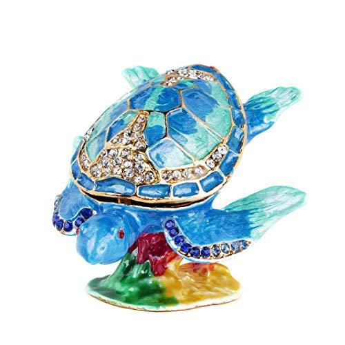 サーフィンのウミガメの小物入れ、蝶番付きのクリスタルジュエルタートルボックス、手描きのカメの置物グッズ