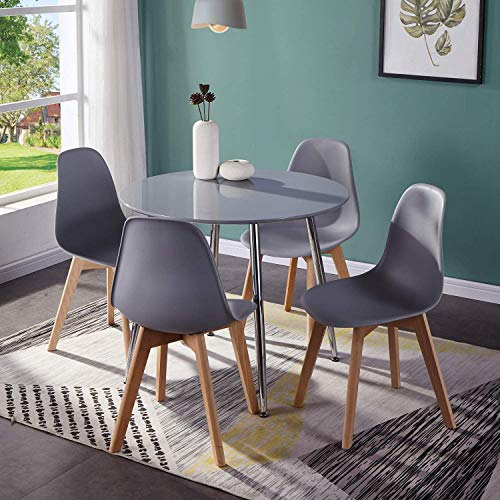 GOLDFAN Round Dining Table and Chairs Set 4 High Gloss Kitchen Table with Modern Wood Plastic Chairs Dining Room Set, Grey