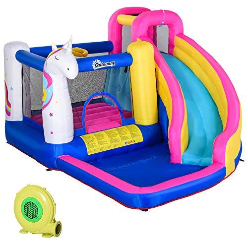Outsunny Castello Casa Gioco Gonfiabile, Gigante e Rimbalzante per 4 Bambini con Scivolo, Piscina e Canestro da Basket