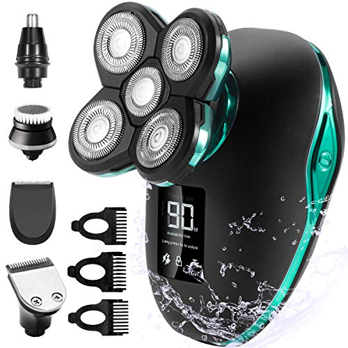 Electric Shaver for Men & Grooming Kit, OriHea 5 in 1 Electric Razor Cordless Waterproof Wet Dry Rotary Bald Head Shaver Nose Trimmer Hair Clippers Facial Cleansing Brush LED Display