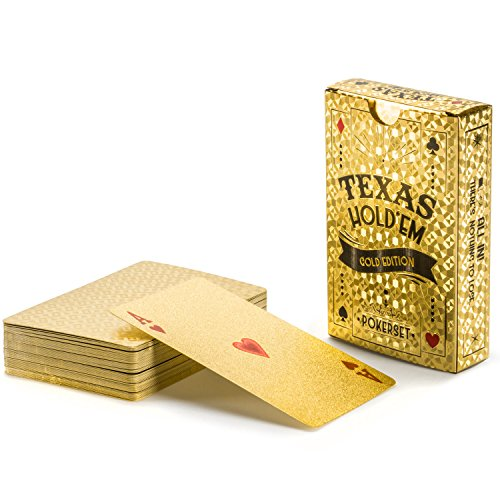 GOODS+GADGETS Gold Pokerkarten Spielkarten aus PVC Kunststoff-Karten Poker Plastik Deck wasserdicht goldene Folie