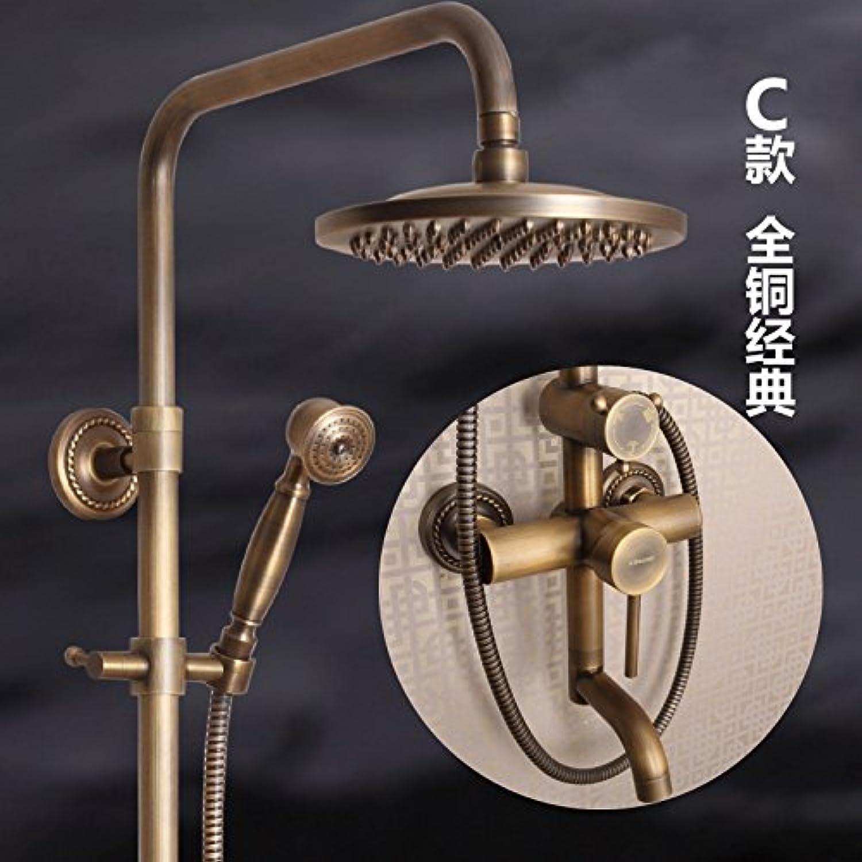 Hlluya Professional Sink Mixer Tap Kitchen Faucet Antique shower sprinkler kit full copper faucet carved bathroom rain shower sprinkler C