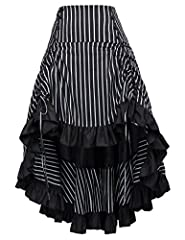 50s Vintage Gothic Punk Maxi Long Skirt Victorian High Low Skirt A-Line Striped Corset Ruffled Skirt Please use our own Size Chart instead of Amazon's size chart. Thank you Features: Waistline is elastic; Eight decoration buttons in the front; Adjust...