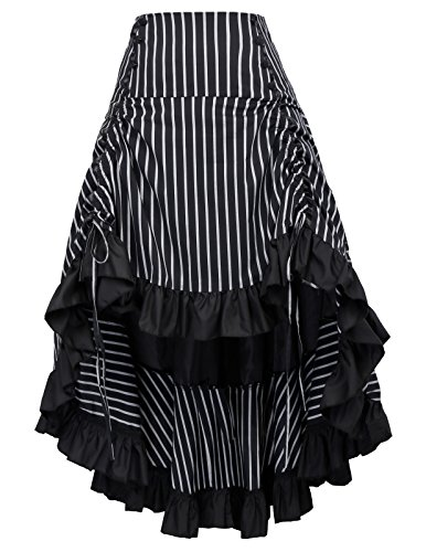 Belle Poque Vintage Retro Gothic Steampunk Gathered Striped High-Low A-Line Skirt Feature: Elastic Waist, Ruffled Hem, Eight decoration buttons in the front, Drawstrings in the front to adjust skirt length, Big fixed bow-knot decorates the back, Conc...