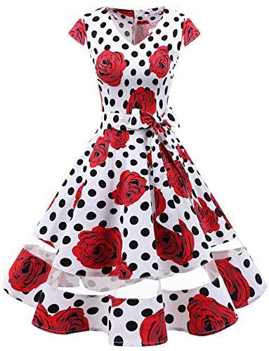 Gardenwed 1950er Vintage Retro Rockabilly Kleider Petticoat Faltenrock Cocktail Festliche Kleider Cap Sleeves Abendkleid Hochzeitkleid White Rose Dot 3XL
