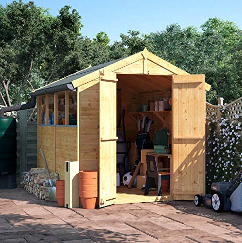 BillyOh Master Tongue & Groove Wooden Garden Shed Apex Roof, Felt Included, Windowed/Windowless, Multiple Sizes (Windowed, 8x6)