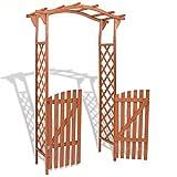 ZAMAX Waterproof Wood Arbor Arch with Gate for Garden and Backyard, Lawn Landscape Design Wedding Arches Ceremony Wooden Garden Trellis Arbor Climbing Planting Garden Patio