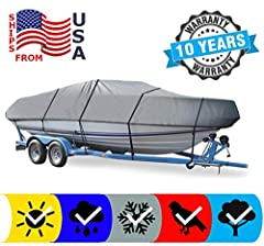 All Season Boat Cover for PRINCECRAFT PRO SERIES 1500/1550 ALL YEARS PROTECT YOUR BOAT: 600 Denier Heavy-Duty, High Quality, Breathable, Resistant, Urethane Coated Marine Grade Woven Canvas Polyester Material. Fabric Will not Shrink. High Rating of W...