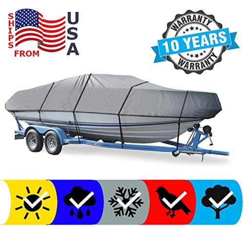 SBU Grey Boat Cover for Starcraft BB 170 1992, Travel Storage Mooring