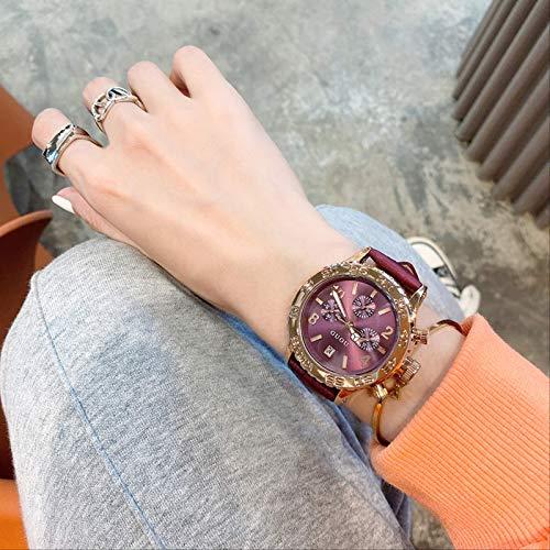 Reloj De Esfera Negra Dominante De Alto Nivel Mujer Temperamento Minimalista Retro Estilo De Alto Perfil Cinturón De Cuero Top Ten Marcas