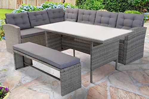 OUTFLEXX Loungemöbel, hellgrau meliert/grau, Polyrattan/Polyester, 145x79cm, 3 TLG, 7 Pers, inkl. Polster
