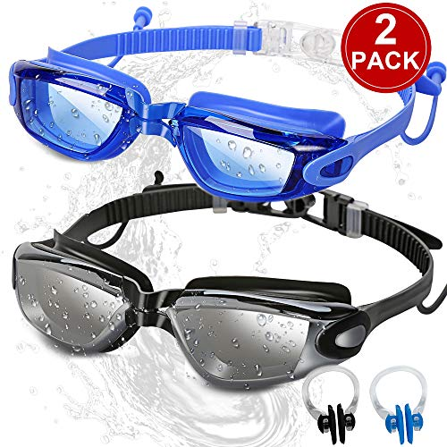 SBORTI Swim Goggles Swimming Goggles, Pack of 2 No Leaking Anti Fog UV Protection Swim Glasses Water Goggles Triathlon for Adult Men Women Youth, with Mirrored & Waterproof (A-Black+Blue-1)