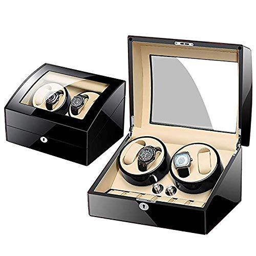 YLJYJ Caja de Reloj Caja de Reloj enrollador de Reloj con rotación automática, Cajas de Almacenamiento de Madera de Lujo para 2 Relojes de Pulsera con Motor