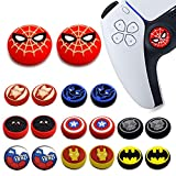 2Pcs Analog Thumb Grip Stick Cover, Dualsense Wireless Controllers Game Remote Joystick Cap, Fantastic Non-Slip Silicone Handle Protection Cover for PS5/PS4/Xbox one/360/NS PRO (Spider Man)