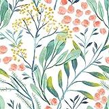 Frisos De Papel Pintado Papel Pintado Floral De Bosque De Acuarela, Papel Tapiz Extraíble De Vinilo Blanco/Verde/Rosa, Adhesivo Decorativo Para Pared
