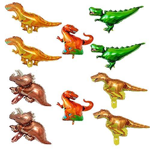 SNOWZAN 10 globos de dinosaurios de papel de aluminio, para cumpleaños, dinosaurios, dinosaurios, globos, helio, dinosaurios, dinosaurios, fiestas, set de cumpleaños, dinosaurios, estilo selva.
