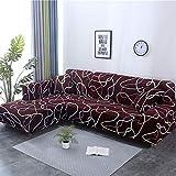 PCSACDF 1/2-teiliges Sofabezug-Set con geometrischen Sofabezügen elástico Sofabezug para Wohnzimmer-Haustiere ECK-Sofa en L con Chaiselongue, Color 9, 3seater and 3seater