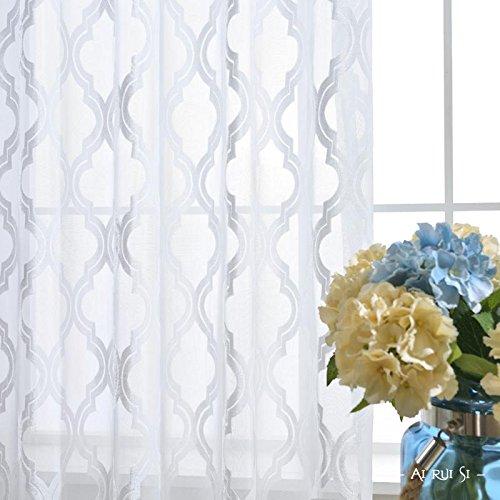 Vorhänge und Vorhänge Gardinen Luxus Weiß Verdickung Tüllvorhänge Zum Fensterdekorationen Wohnzimmer Tülle oben Ein Panel , 1pc(300*270 cm)