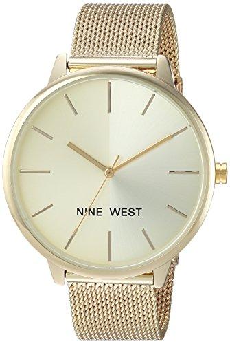 Nine West Women's NW/1980CHGB Gold-Tone Mesh Bracelet Watch