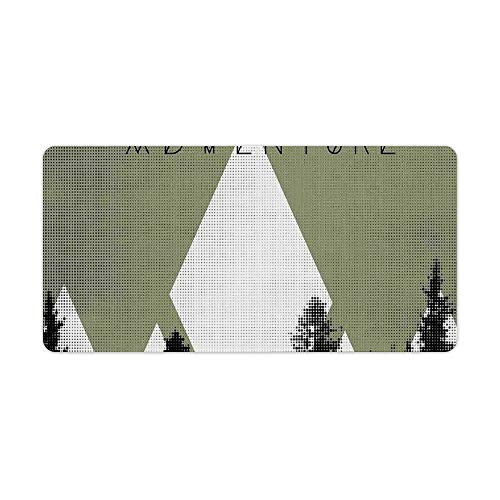 Extended Gaming Mouse Pad with Stitched Edges Large Keyboard Mat Non-Slip Rubber Base Forest with Halftone Effect Hipster Typography Camping in Mountains Desk Pad for Gamer Office 12x24 Inch